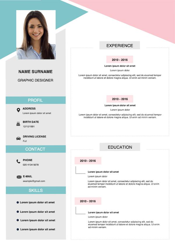 pink template CV